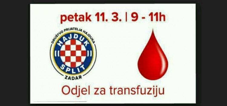DRUŠTVO PRIJATELJA HAJDUKA ZADAR POZIVA: Dođite darovati krv u petak!