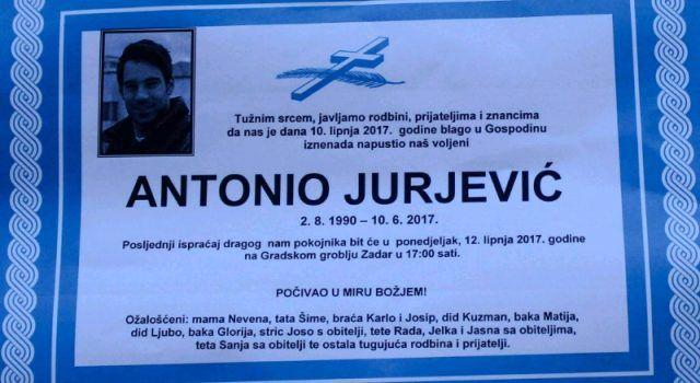 Posljednji ispraćaj Antonija Jurjevića u 17 sati na Gradskom groblju