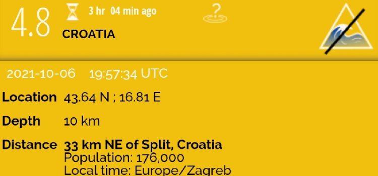 Zadrane uznemirio potres, epicentar 33 km od Splita